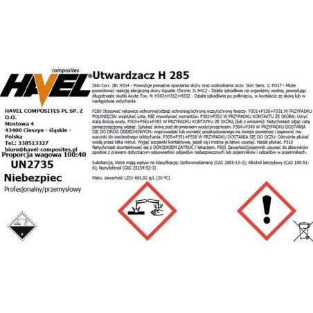 ŻYWICA L285  500G+UTW.L285/200 G.